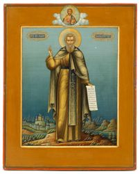 A signed icon by Mikhail Ivanovich Dikariov: Saint Makarii of Unsha and the Yellow Waters