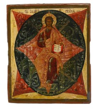 A fine Icon of the Saviour Enthroned in Glory